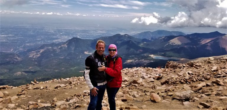 Author and Mr. Right enjoying a little of their golden years at at the summit of Pike's Peak