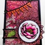 Thank you card in pinks and purples with hand colored flower image
