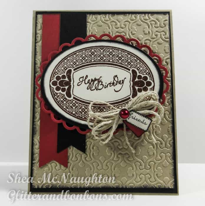 Front view of card featuring dry and wet embossing