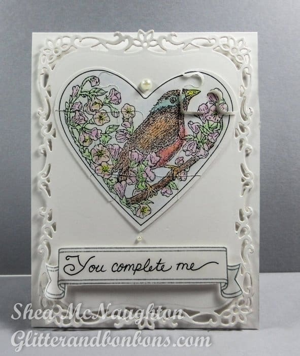 Front view of mostly white anniversary card