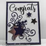 Graduation card using various star die cuts