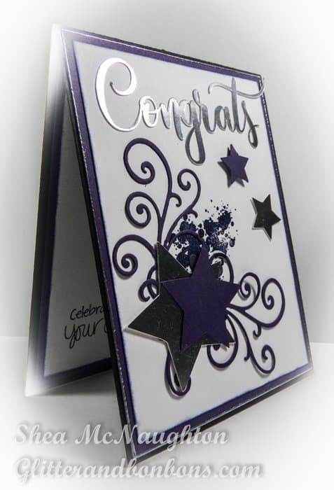 Graduation card featuring stars and greeting cut with a die cutting machine