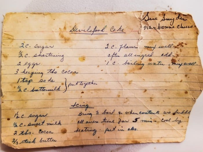 Image of the actual 60+-year old recipe card