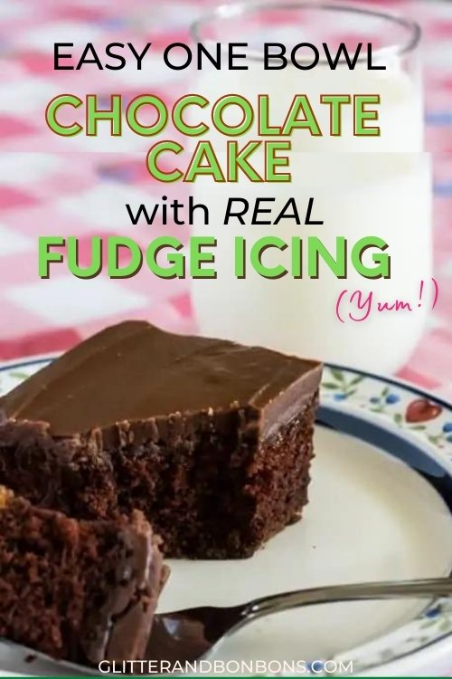Pin cover showing piece of easy chocolate cake with fudge icing and a glass of milk