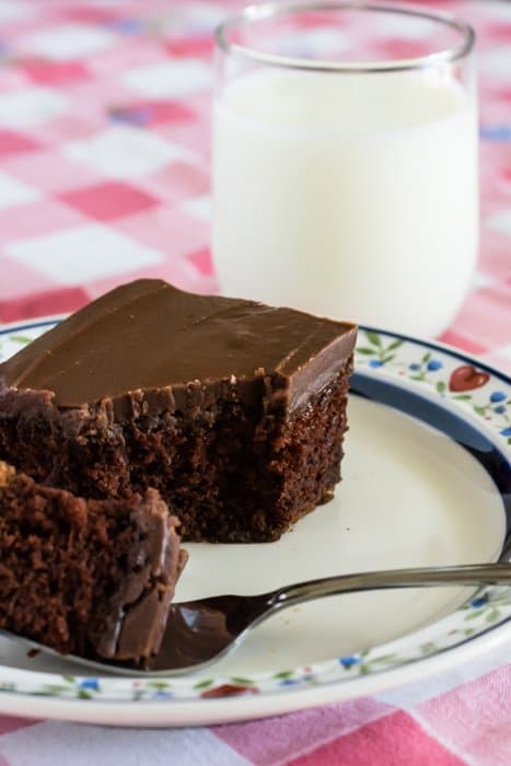 One bowl chocolate cake with real fudge icing