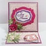 Front view of pink and purle easel card