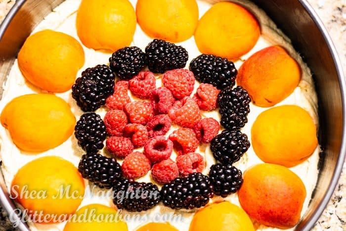 Top view of cake before baking. The fruit is arranged in concentric rings.