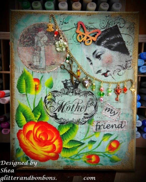 Small mixed media canvas honoring my mother on Mother's Day