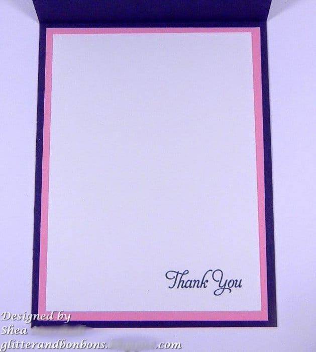 "Image of inside with ""thank you"" stamped in the lower right corner"