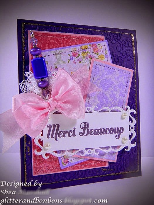 Angled view of French thank you card