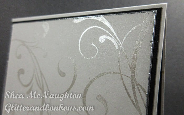 Close up detail of sympathy card showing Perfect Pearls on stamped swirls