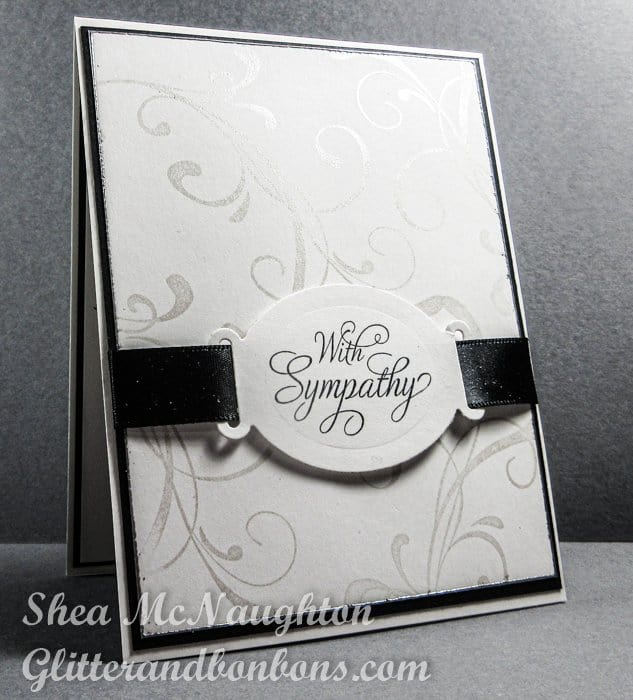 Angled view of sympathy card