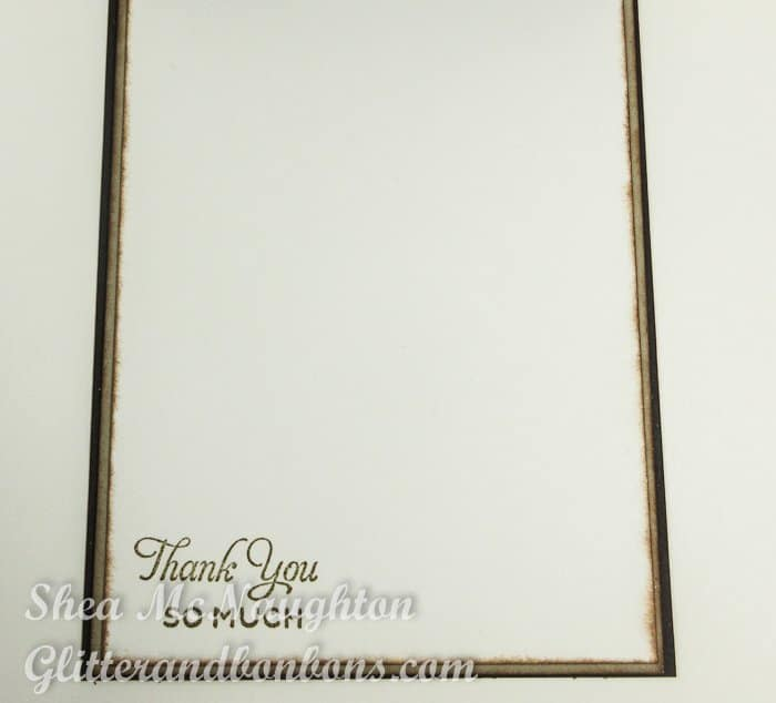 Inside view of elegant thank you card