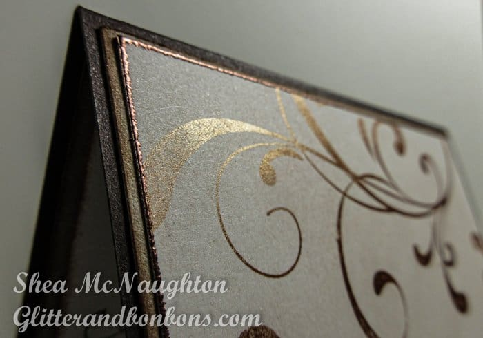 Close up of shimmery stamped swirls on elegant thank you card