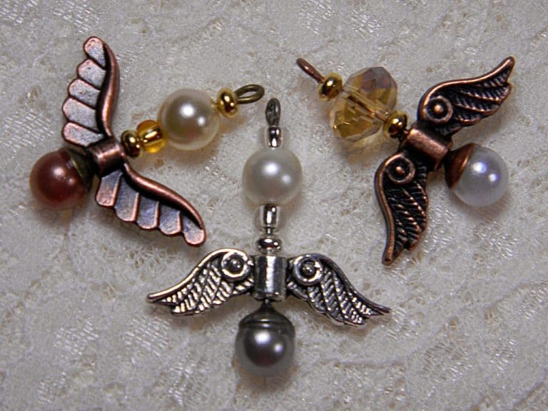 Angel charms made from beads, pearls and tiny angel wings