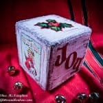 3 sides of DIY decoupage wood Christmas block