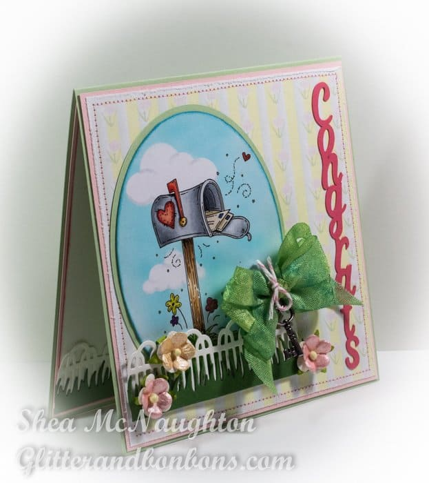 Angled view of congrats card