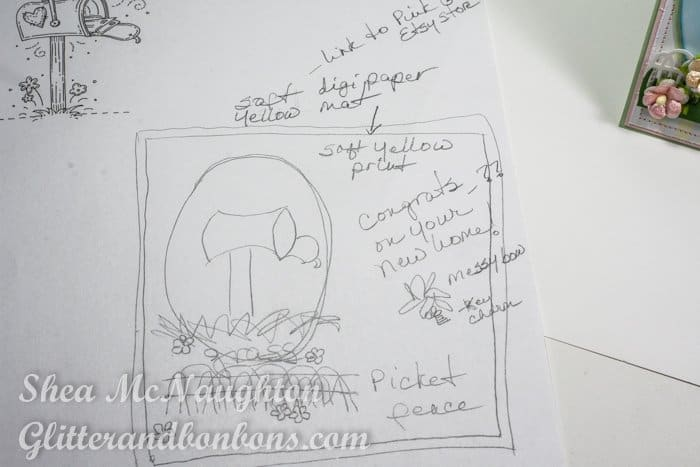 Hand drawn blueprint of the congrats card
