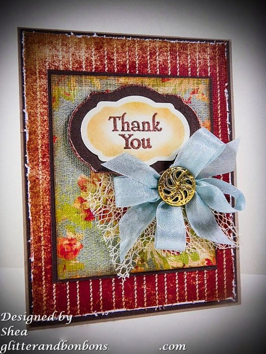 Angled view of shabby chic thank you card with an elegant twist