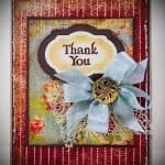 Front view of shabby chic thank you card with elegant embellishment