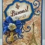 Front view of French-inspired card showing both plenty of color and texture in background materials