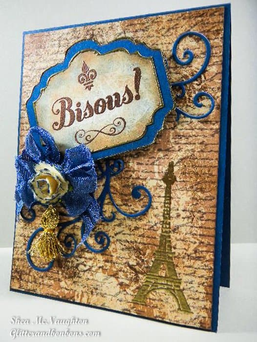 Angled view of French-inspired card