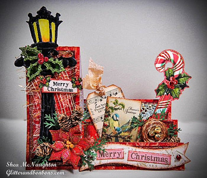 Side-step Christmas card using pieces from two of my favorite paper crafting tools, the Big Shot and the Silhouette Cameo