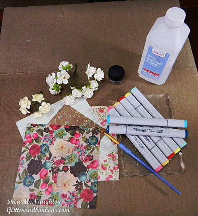Supplies for coloring mulberry flowers (plus making the card to go with them)
