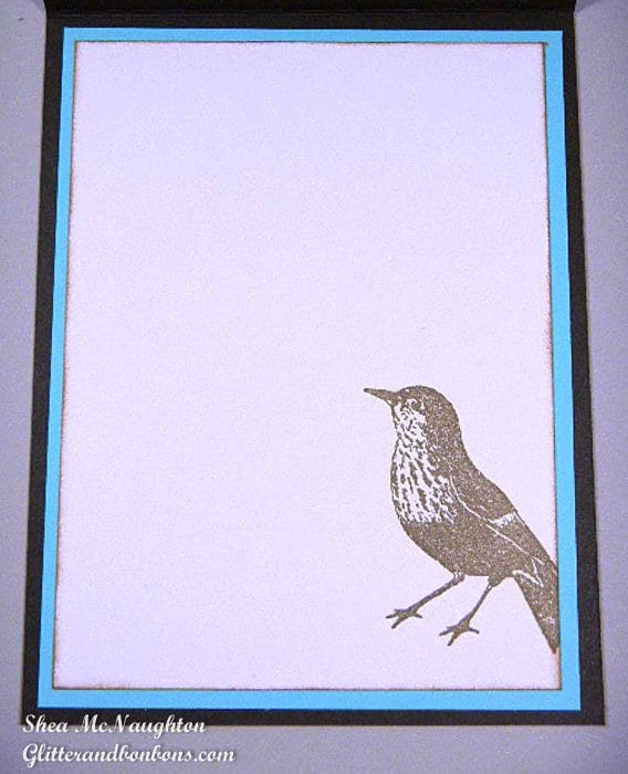 Inside view of card with stamped image of bird in lower right corner