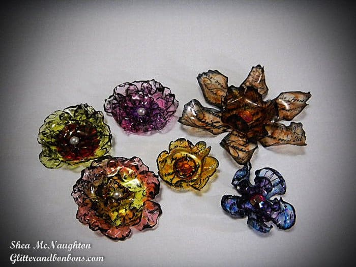 "A bouquet of ""faux glass flowers!"""