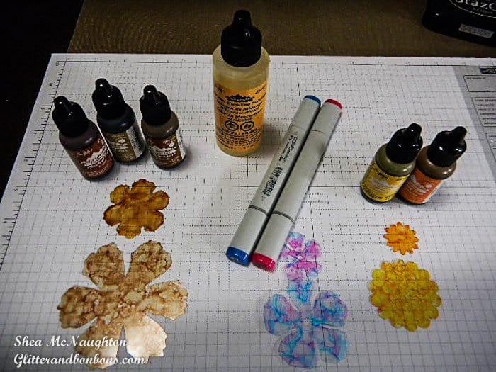 Different inks used to make faux glass flowers