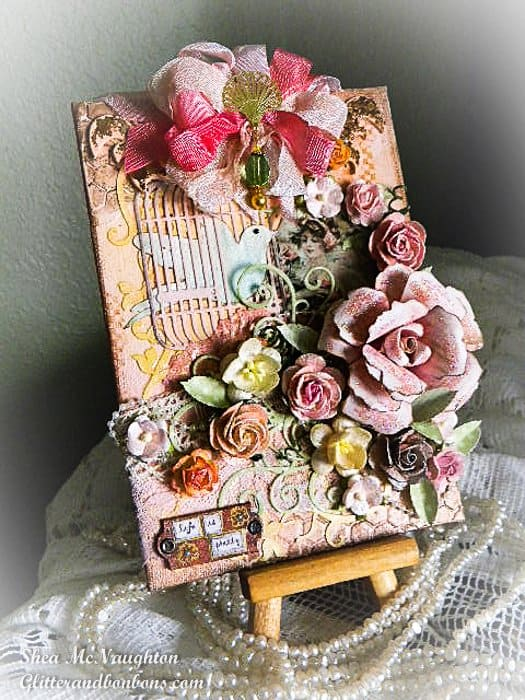 Angled view of Peachy Floral Mixed Media project