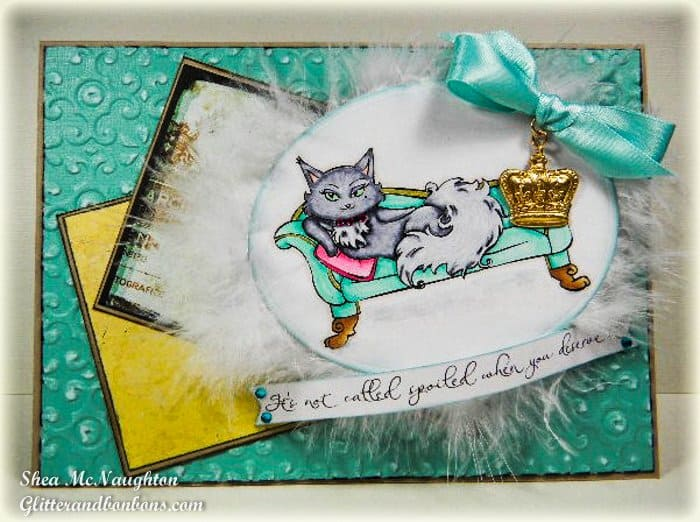 Spoiled kitty card with distressed embossed background