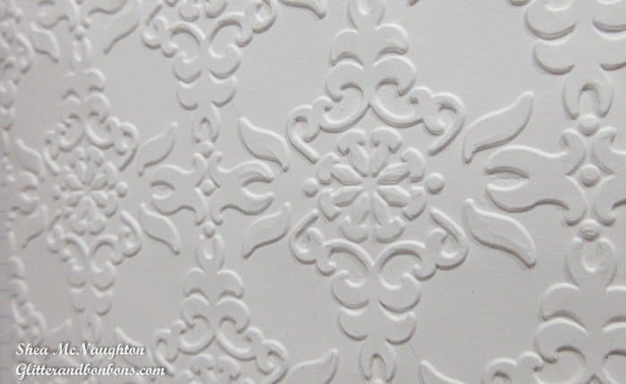 Close up of dry embossed white cardstock