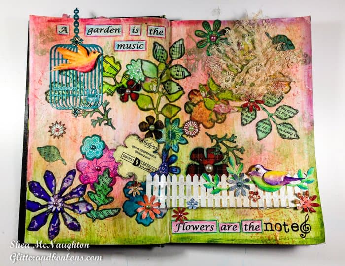 Two-page spread of floral art journal pages
