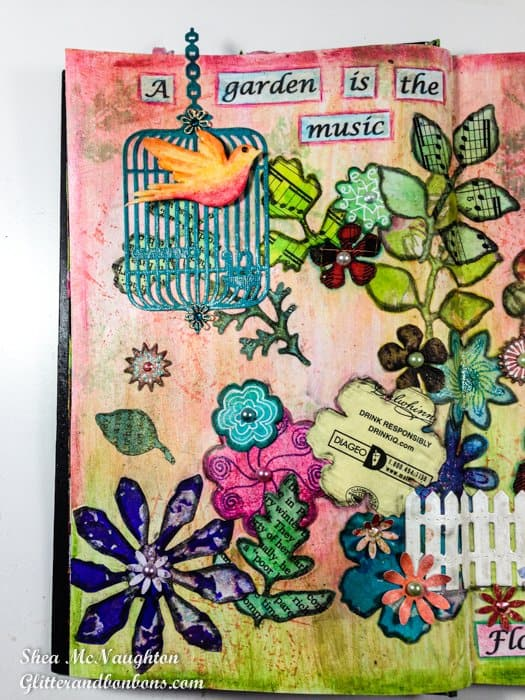 One page of the art journal flower garden