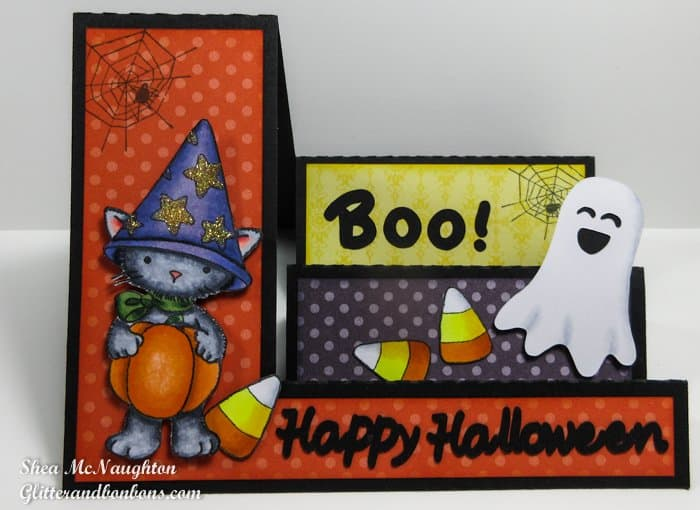 Front view of Halloween side step card