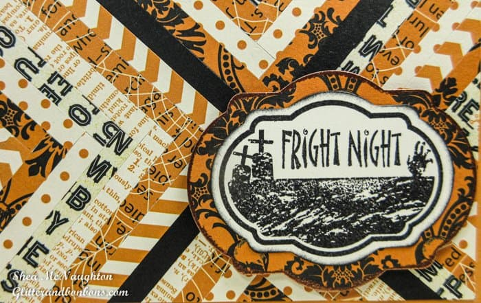 Closeup of strips of patterned paper showing herringbone technique as well as Halloween greeting