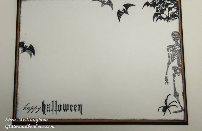 Inside the card - stamped skeleton, bats, spider and Halloween greeting