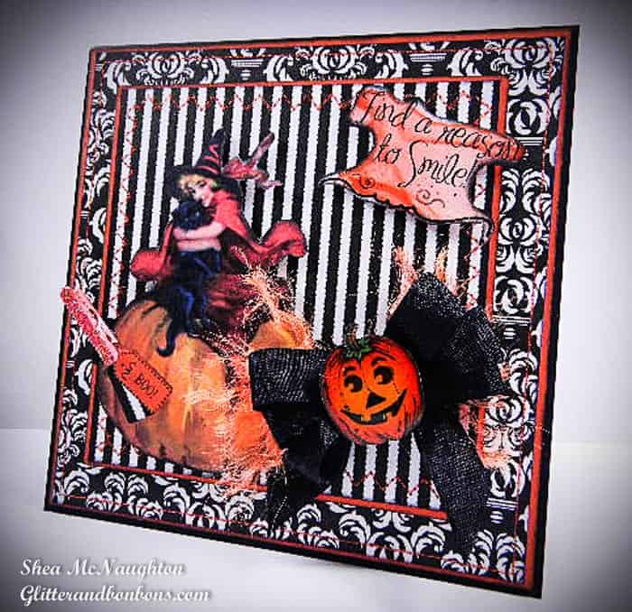 Angled view of Halloween card showing a mix of patterns and textures