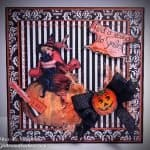 Halloween card showing a mix of patterns and textures, plus a Halloween image