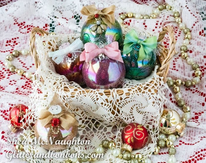 Basket of handmade glitter ornaments