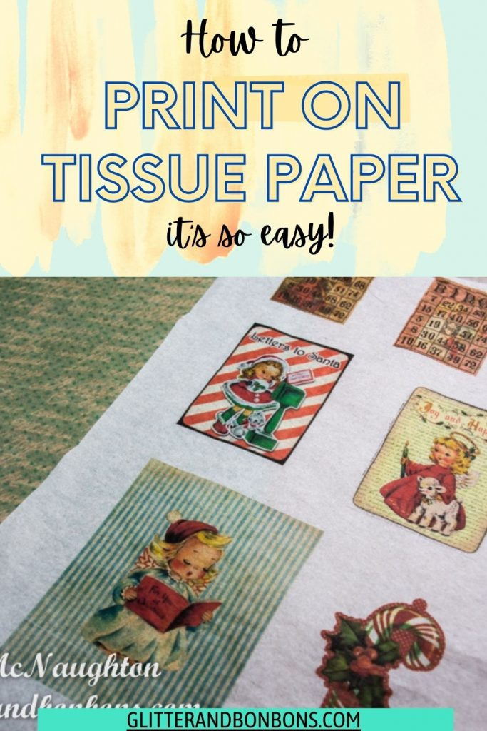 Pinterest cover for how to print on tissue paper