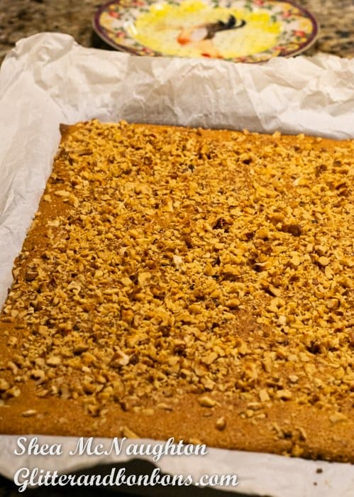 Top of baked pumpkin roll cake layer