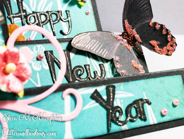 The greeting letters are cut with one of my favorite paper crafting tools, the Silhouette Cameo