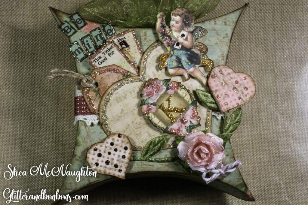Vintage Valentine Pillow Box with sparkly embellishments