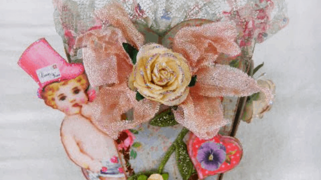 vintage Valentine gift box with color, glitter and vintage lace