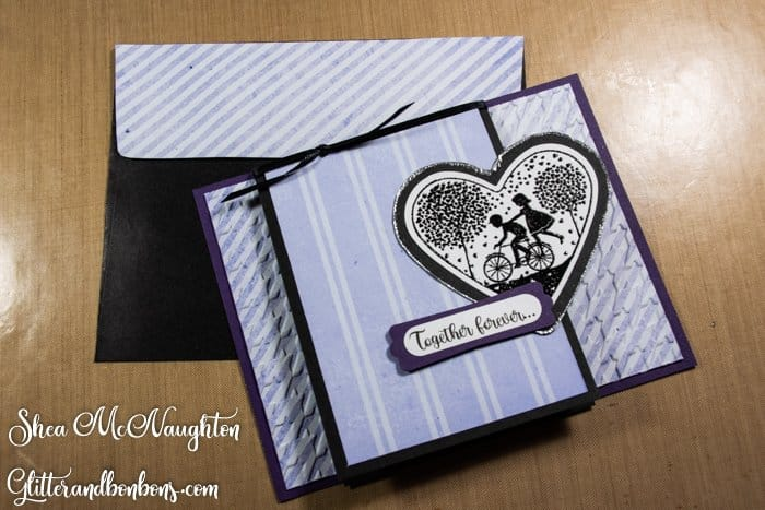 Purple, black and white masculine fancy-fold card with matching envelope