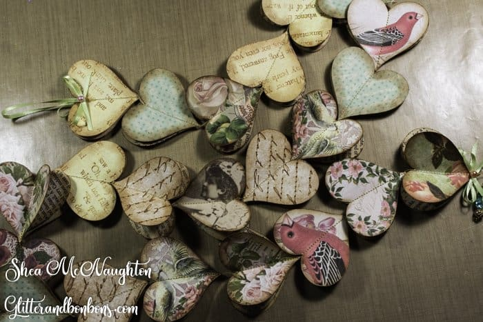 Vintage heart garlands are a great DIY last-minute Valentine gift