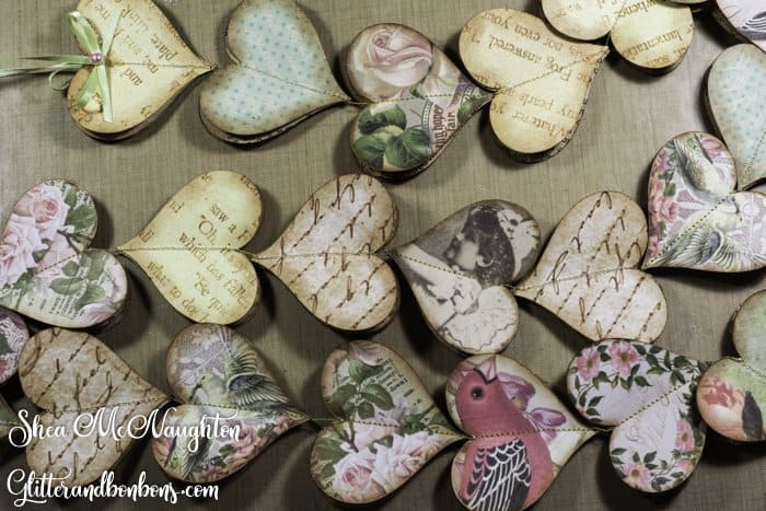 String of vintage paper hearts